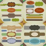 Set of  retro ribbons, old dirty paper textures and vintage labels, banners and emblems. Elements collection for design. Stock Photography