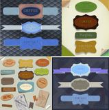 Set of  retro ribbons, old dirty paper textures and vintage labels, banners and emblems. Elements collection for design. Royalty Free Stock Photos