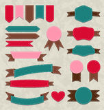 Set retro ribbons, vintage labels, emblems Stock Photos