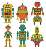 Set of Retro Robots Cartoons. A set of 6 different retro robot cartoon illustrations in teal, orange, pink, yellow and green Royalty Free Stock Photo
