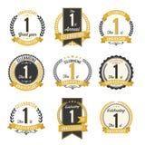 Set Retro Rocznicowych odznak roku 1st świętowanie Royalty Ilustracja