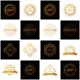 Set Retro rocznik insygnie, logotypy lub Wektorowi projektów elementy, biznes podpisują, logowie, tożsamość, etykietki, odznaki i royalty ilustracja