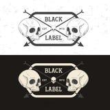 Set retro rocznik odznaka, symbol lub logotyp z czaszką, Zdjęcie Royalty Free