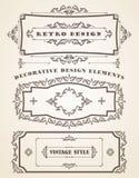 Set Retro rocznik ramy, granicy i royalty ilustracja