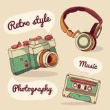 Set retro rzeczy Kamera, hełmofony, audio Ilustracji