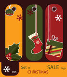 Set of retro sale xmas tags Royalty Free Stock Photos