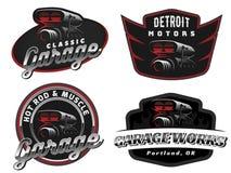 Set retro samochodowy logo, emblematy lub odznaki, royalty ilustracja