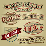 Set of Retro Seals, Labels and Calligraphic Design Royalty Free Stock Photos