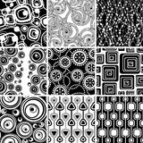 Set of retro seamless ornaments. Set of black-and-white geometrical seamless ornaments backgrounds Royalty Free Stock Photography
