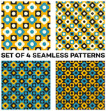 Set of 4 retro seamless patterns with different geometric shapes of blue, white, yellow and black shades. Set of 4 abstract retro seamless patterns with Royalty Free Stock Photo