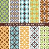 Set of 10 retro seamless patterns Royalty Free Stock Image