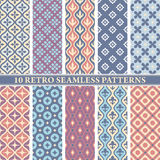 Set of 10 retro seamless patterns Stock Photography