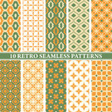 Set of 10 retro seamless patterns. Vector illustration stock illustration
