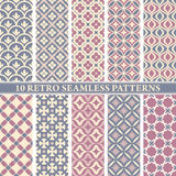 Set of 10 retro seamless patterns Royalty Free Stock Photo