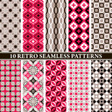 Set of 10 retro seamless patterns Royalty Free Stock Photography