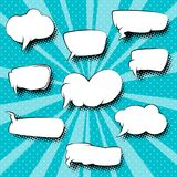 Set of Retro Speech Bubbles. On Pop Art Background with Sun`s Rays, Azure Background with Dots , Vector Illustration vector illustration