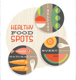 Set of retro spot illustrations of healthy foods Royalty Free Stock Image