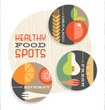 Set of retro spot illustrations of healthy foods Royalty Free Stock Photos