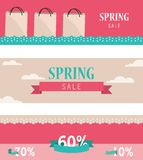 Set of retro spring horizontal banners Stock Images