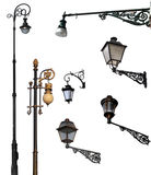 Set of retro street lamps with clipping paths Stock Image