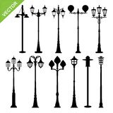 Retro street lamps silhouette vector. Set of retro street lamps silhouette vector royalty free illustration