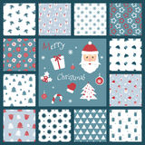 Set of retro style Christmas patterns. Winter background. Endless textures in blue and red colors. Vector illustration. Santa Clau Stock Photos