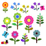 Set of retro style flowers in bright color Stock Photography