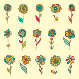 Set of retro style flowers in bright colors. Isolated on white for greeting cards, scrap booking stock illustration