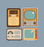 Set  retro style. Set of objects in retro style. Old Radio and TV Stock Photo