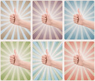 Set of retro style poster card with thumb up gesture Royalty Free Stock Image