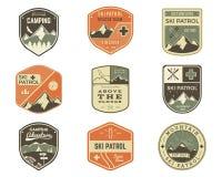 Set of Retro style Ski Club, Patrol Labels. Classic Mountain elements.  Royalty Free Stock Photos