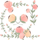Set of retro styled flowers isolated on white background, vector Royalty Free Stock Photos