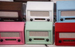 Set of retro styled old radios Stock Image
