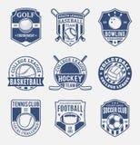 Set of retro styled sport team logo for nine sport disciplines Stock Photos