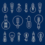 Set of retro stylized linear electric bulbs Royalty Free Stock Photos