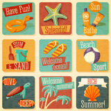 Set of retro stylized summer icons with Stock Images