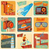 Set of retro stylized summer icons with Stock Photos