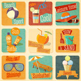 Set of retro stylized summer icons with Stock Photography