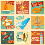 Set of retro stylized summer icons with Royalty Free Stock Photo