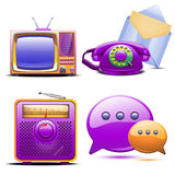Set of retro stylized tv radio phone and mail. Illustration of set of retro stylized tv radio phone and mail Stock Photography