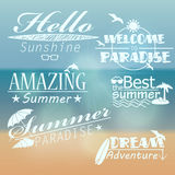 Set of retro summer illustrations Stock Photos