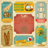 Set of Retro Summer Labels Royalty Free Stock Photography