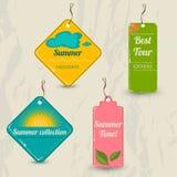 Set of 4 retro summer tags. Stock Photos