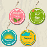 Set of 4 retro summer tags. Stock Images