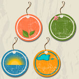 Set of 4 retro summer tags. Stock Photo