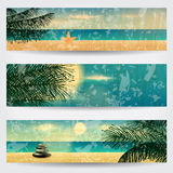 Set of retro summer web banners royalty free illustration