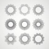 Set of Retro Sun burst shapes. Vector illustration Stock Image
