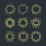 Set of Retro Sun burst shapes. Vector illustration Royalty Free Stock Images
