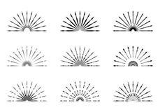 Set of Retro Sun burst shapes. Vintage logo, labels, badges. Vec. Tor design elements isolated. Minimal black firework burst Stock Image