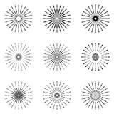 Set of Retro Sun burst shapes. Vintage logo, labels, badges. Vec. Tor design elements . Minimal black firework burst Royalty Free Stock Images